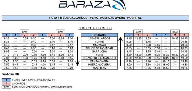 horario bus hospital inmaculada